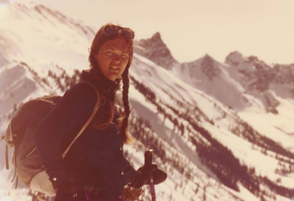 Nancy klimp skiing in the mountains as a young woman.