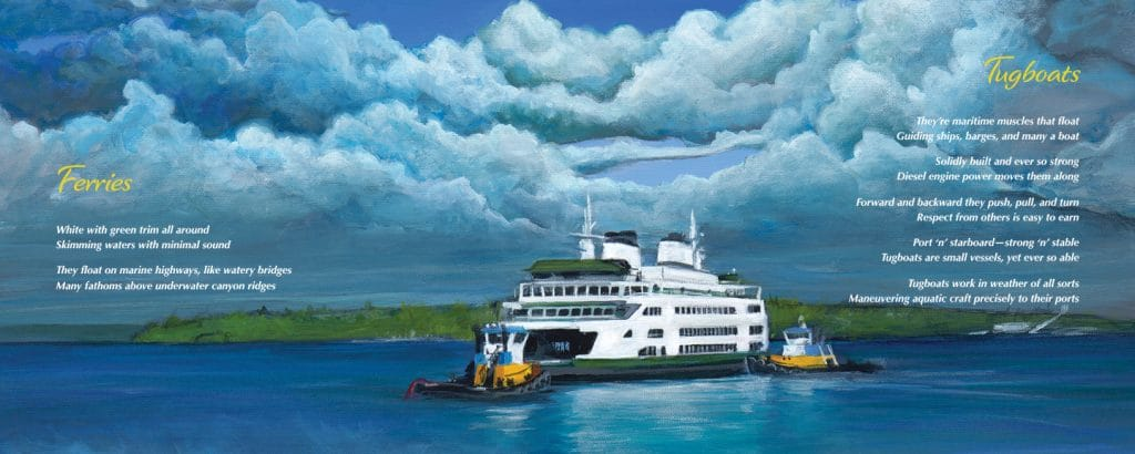 Ferry and tugboats from meet me at the salish sea book