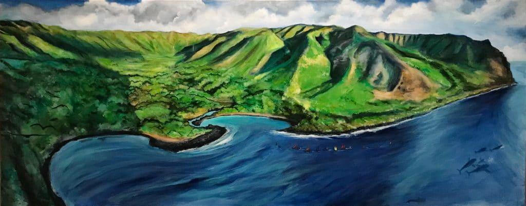 Painting of halawa valley, molokai